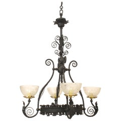 American Victorian Wrought Iron Chandelier