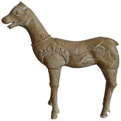 American Vintage Hand Carved Model Wood Llama