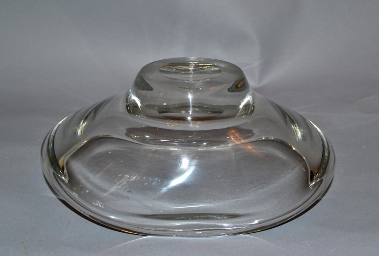 American Vintage Heavy Hand Molded Crystal Glass Clear Art Glass Bowl Fostoria For Sale 2