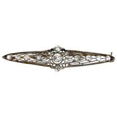 American Vintage Revival .70 Carat Diamonds Brooch Pin 14 Karat
