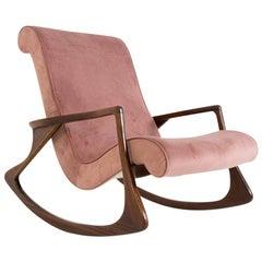 American Vintage Rocking Chair in Pink Velvet, Restored