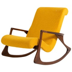 American Vintage Rocking Chair in Yellow Bouclè, Restored
