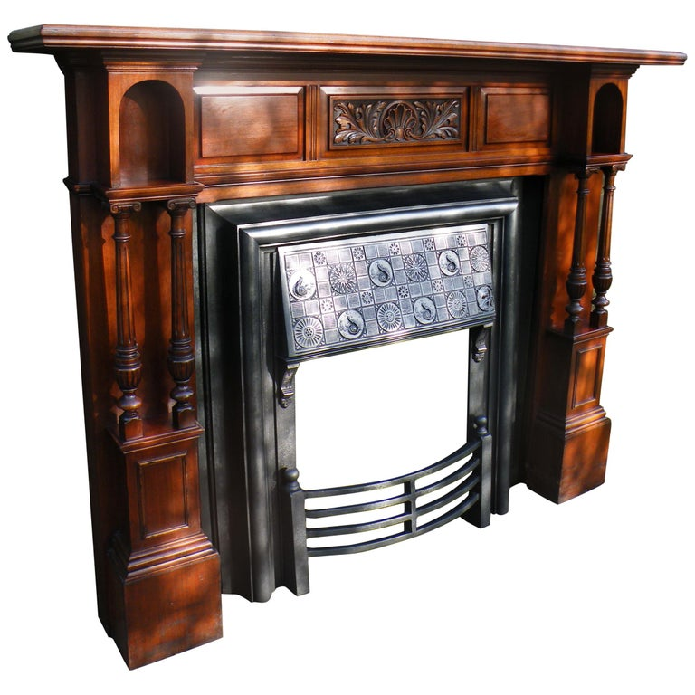American Walnut 1880s Fireplace Mantel With Victorian Aesthetic
