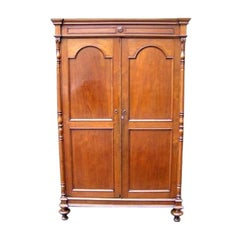 American Walnut Hinged Armoire with Arched Doors and Interior Shelving. C. 1810