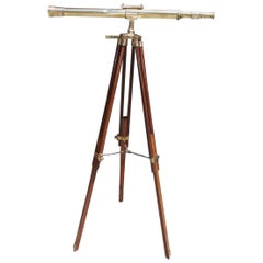 American Walnut Brass Telescope with Level Mounted on Tripod Stand, 20th Century