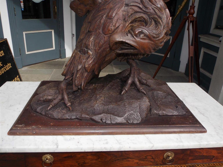 American Walnut Carved Spread Wing Eagle Perched to Flee on Rocky Plinth C. 1830 For Sale 1
