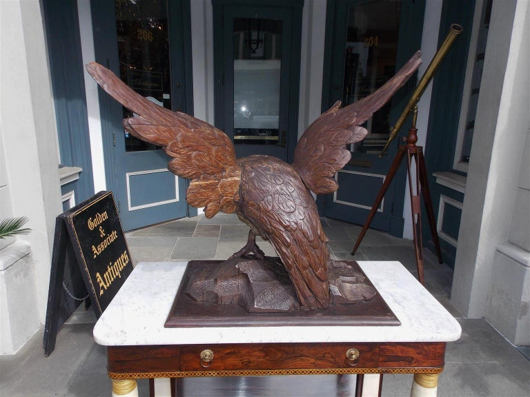 American Walnut Carved Spread Wing Eagle Perched to Flee on Rocky Plinth C. 1830 For Sale 2