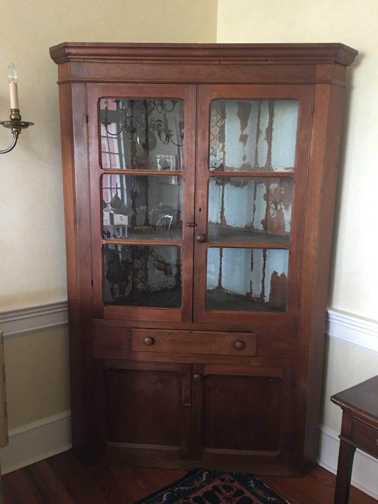 American Walnut Corner Cupboard Or Cabinet With Glass