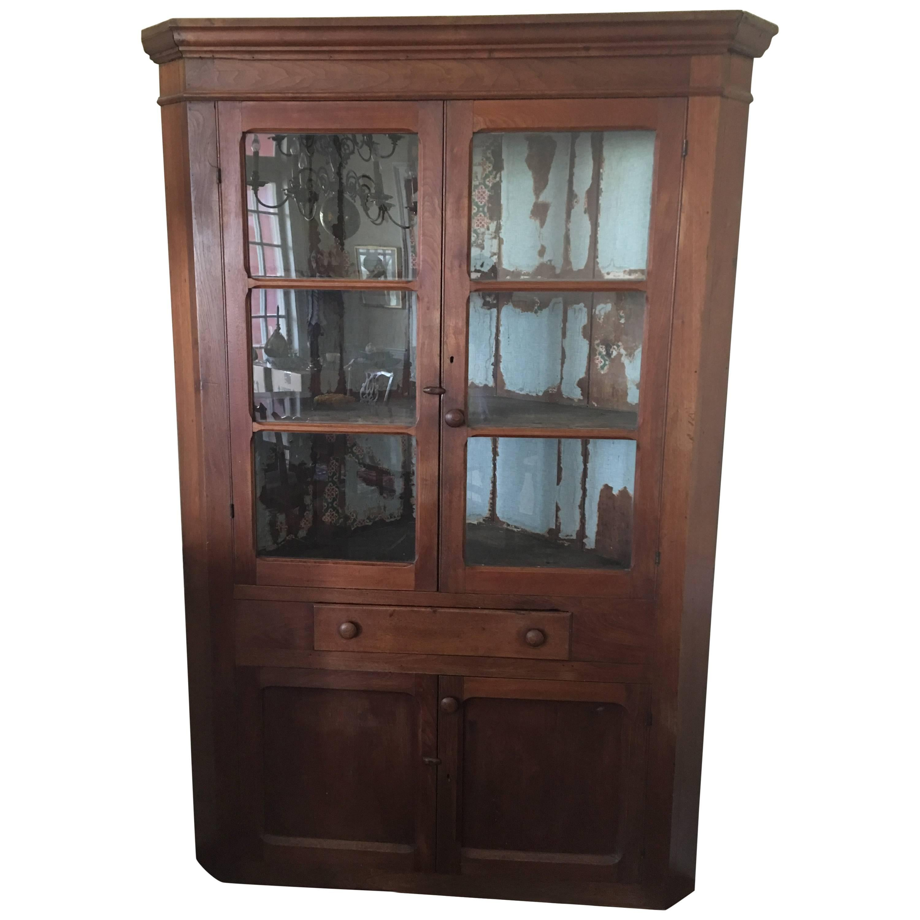 Beau 19th Century Primitive Colonial Walnut Hutch Cupboard Cabinet With Blue  Paint For Sale At 1stdibs