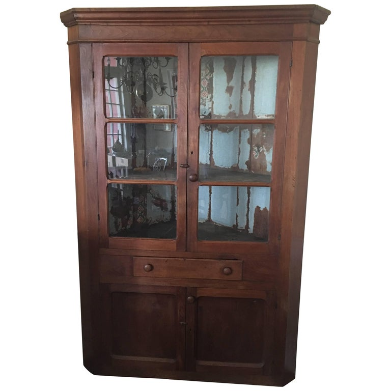 American Walnut Corner Cupboard Or Cabinet With Glass Doors 19th