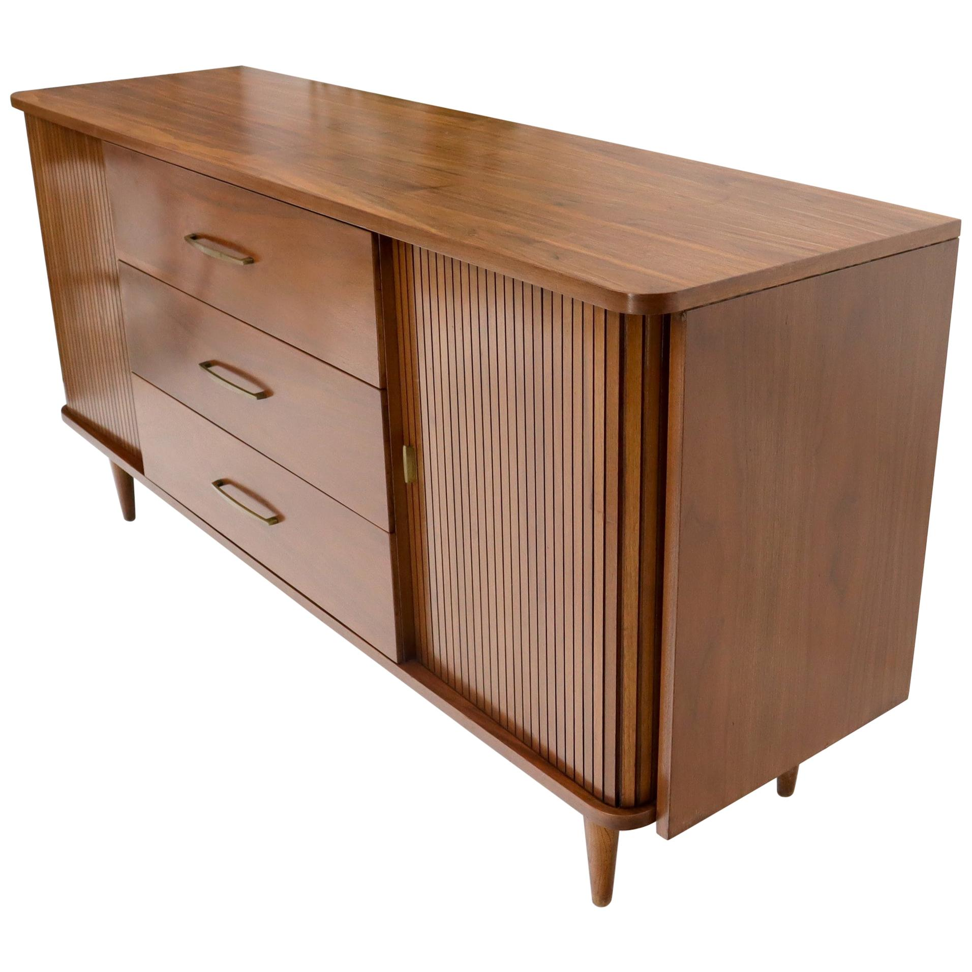 American Walnut Mid-Century Modern Tambour Doors Long Dresser Credenza
