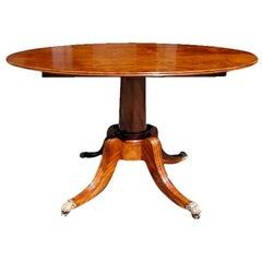 American Walnut Oval Tilt Top Pedestal Table, One Board Top,  Boston , C. 1810