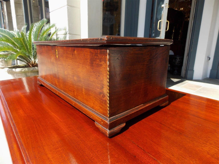 American Walnut Satinwood Inlaid Valuables Box with Original Feet, circa 1780 For Sale 4