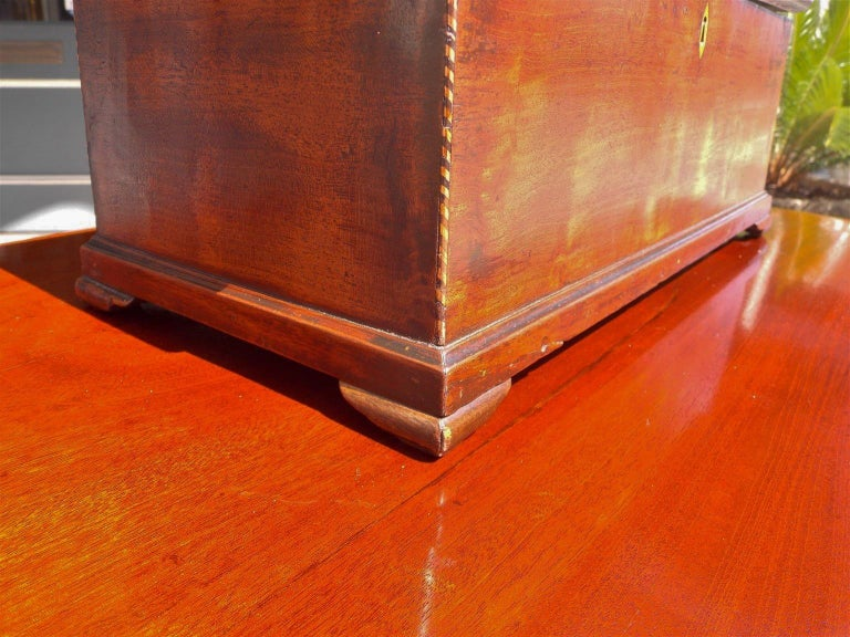 American Walnut Satinwood Inlaid Valuables Box with Original Feet, circa 1780 For Sale 5