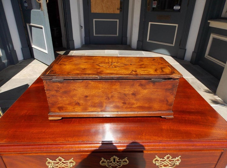 American Walnut Satinwood Inlaid Valuables Box with Original Feet, circa 1780 For Sale 6