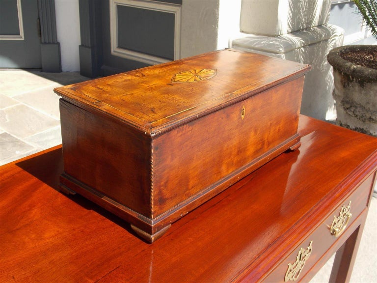 Chippendale American Walnut Satinwood Inlaid Valuables Box with Original Feet, circa 1780 For Sale