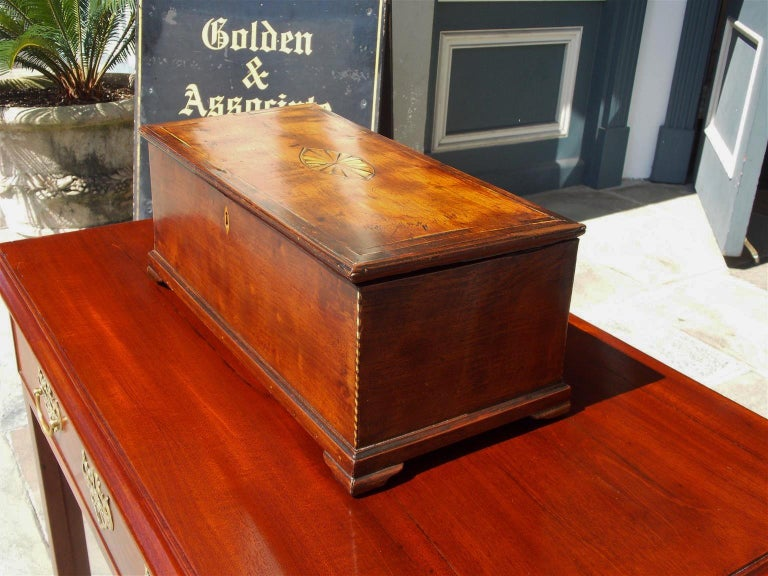 Hand-Carved American Walnut Satinwood Inlaid Valuables Box with Original Feet, circa 1780 For Sale
