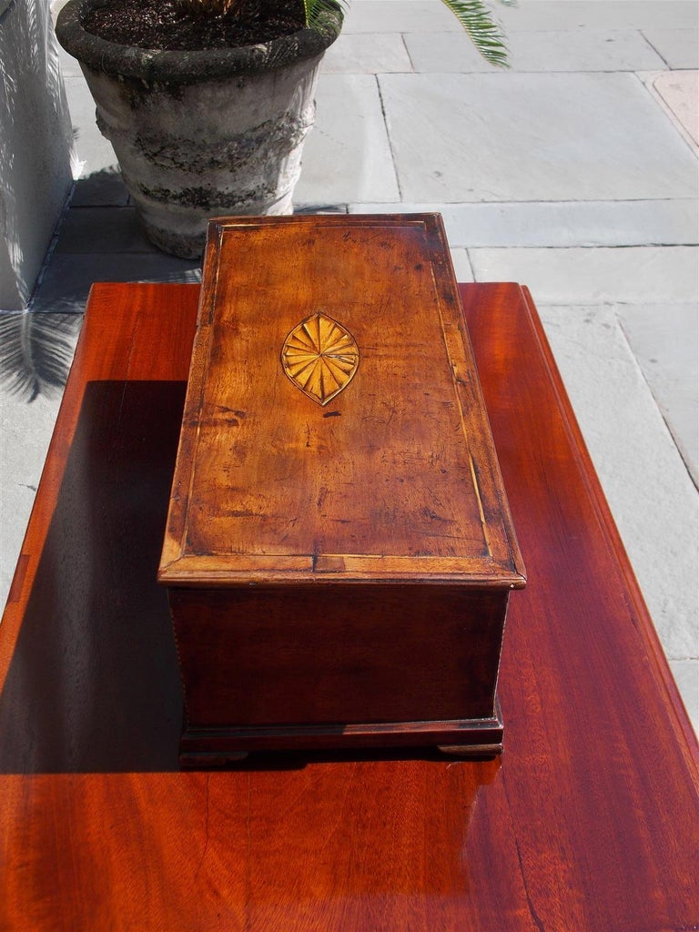 Late 18th Century American Walnut Satinwood Inlaid Valuables Box with Original Feet, circa 1780 For Sale