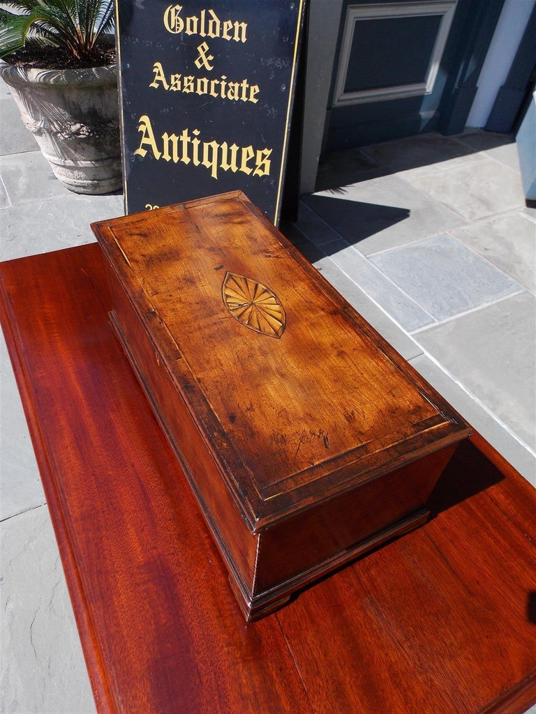 American Walnut Satinwood Inlaid Valuables Box with Original Feet, circa 1780 For Sale 1