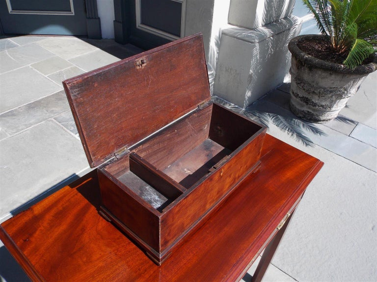 American Walnut Satinwood Inlaid Valuables Box with Original Feet, circa 1780 For Sale 2