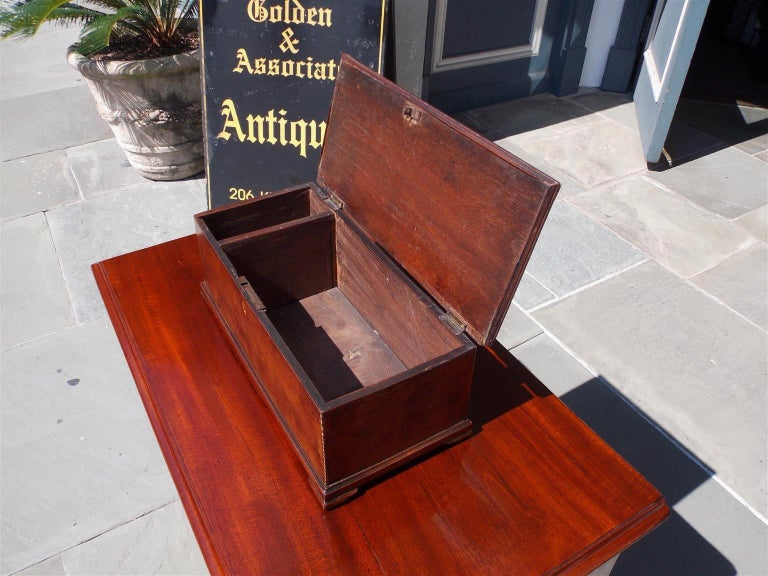 American Walnut Satinwood Inlaid Valuables Box with Original Feet, circa 1780 For Sale 3