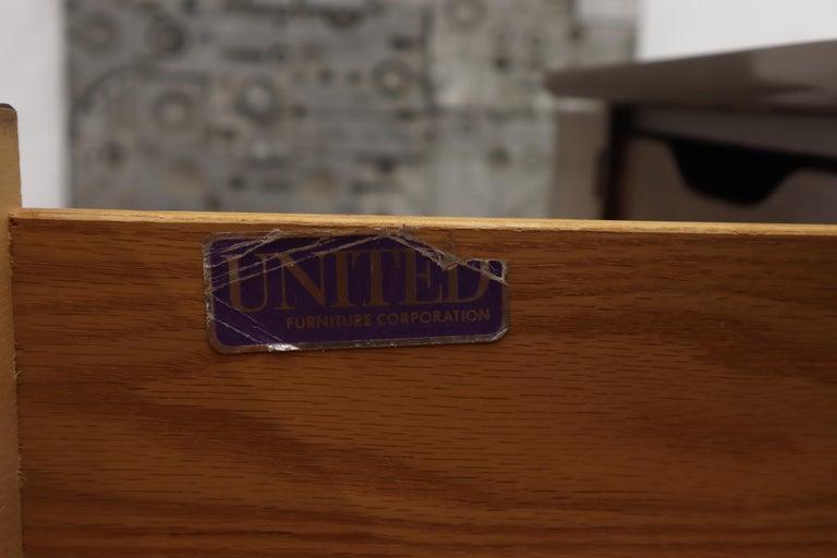 American Walnut Sculptural Front Concave Top Nine Drawers Long Dresser Credenza For Sale 5