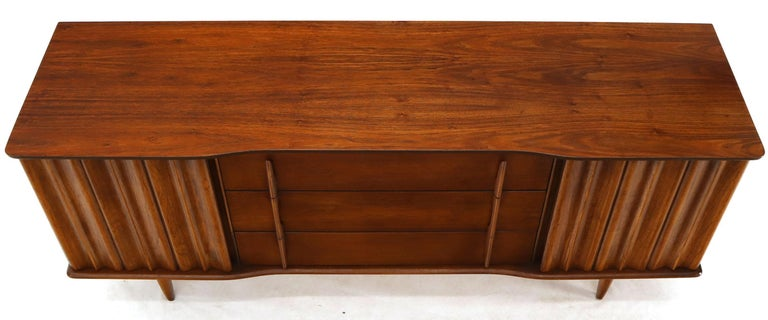 Lacquered American Walnut Sculptural Front Concave Top Nine Drawers Long Dresser Credenza For Sale