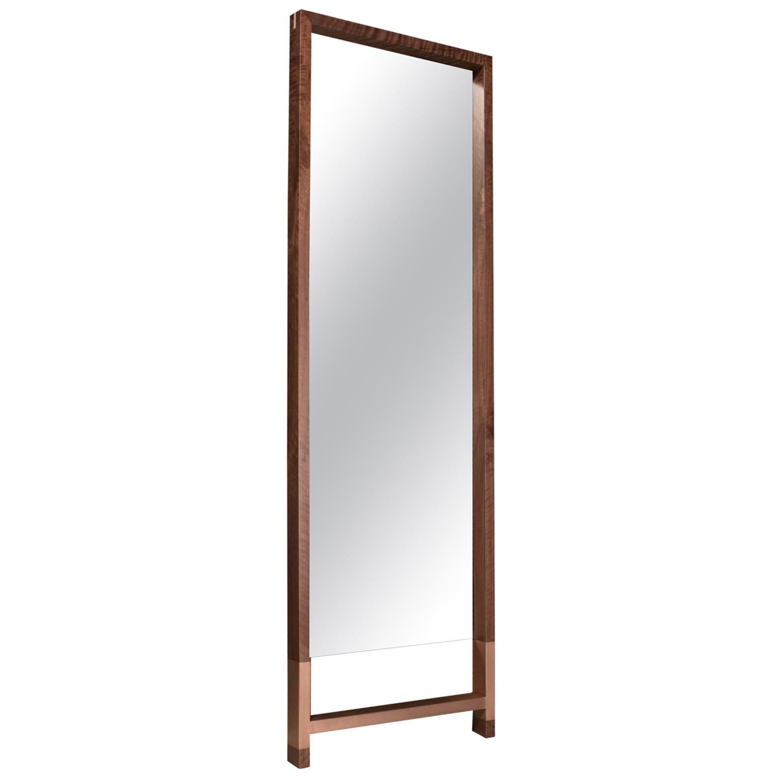 """American Walnut Standing Mirror with Copper Inlay """"Madison Standing Mirror"""""""