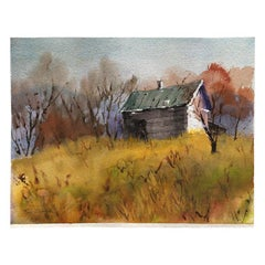 American Watercolor Landscape Painting of Barn and Fall Foliage Signed