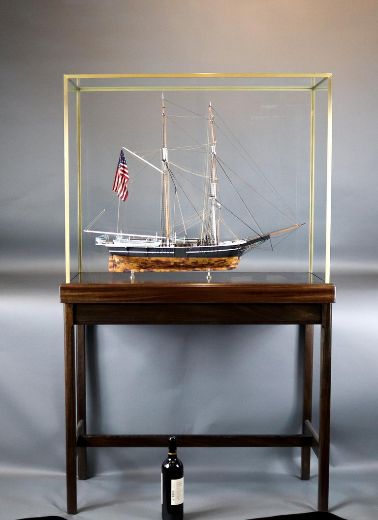 Cased model by William Hitchcock of the American Whaleship Kate Cory. With copper sheathed hull, four fully equipped whaleboats hang from davits. Deck details include tryworks, hatches, workbench. Mounted into a custom glass display case with