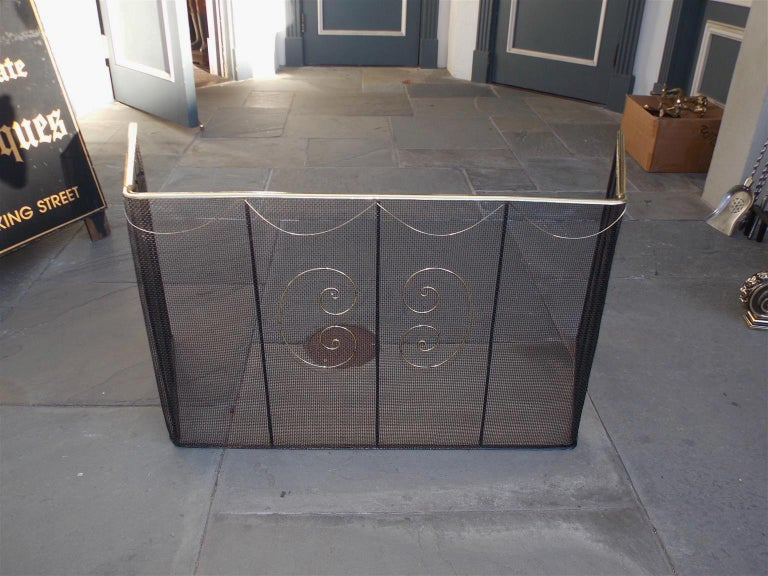 American wire and brass rail top hinged nursery screen with pleasing decorative brass swags, flanking exterior decorative brass scroll wire work, and interior wrought iron support columns, Late 18th century.