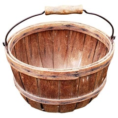 American Wood Slat Basket with Wood Handle