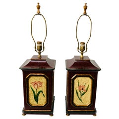 American Wooden Table Lamp with Floral Decoration, a Pair
