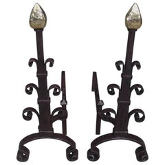 American Wrought Iron and Brass Faceted Arrow Finial Scrolled Andirons, C. 1850