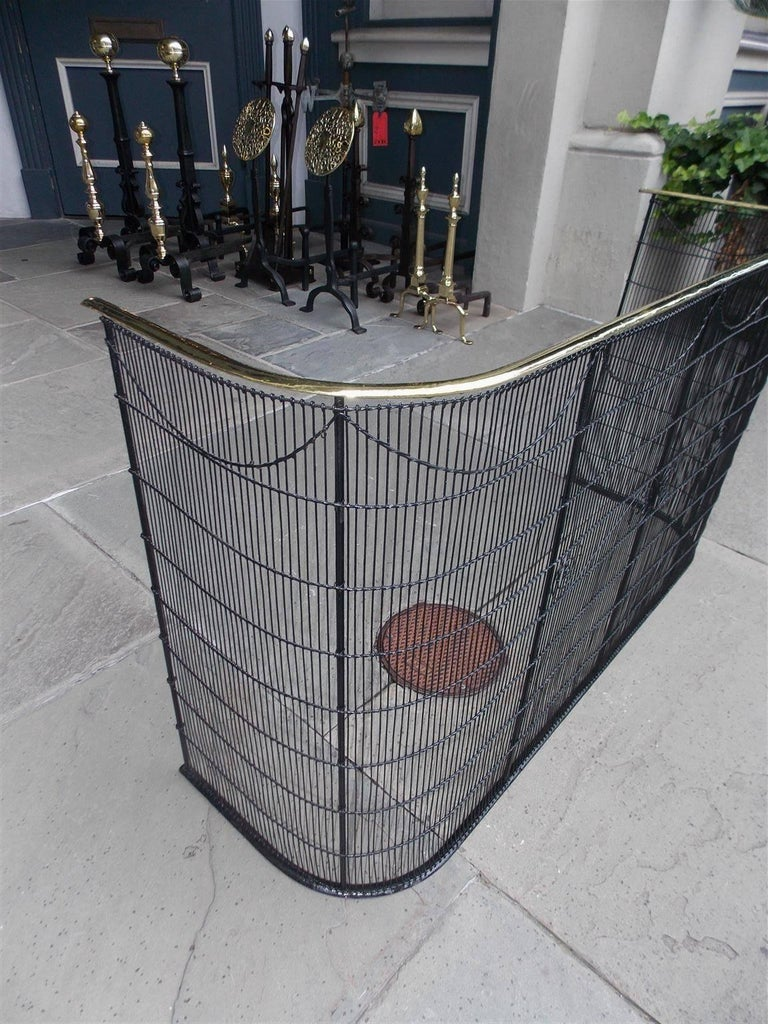 American Wrought Iron and Brass Rail Nursery Artistic Fire Place Fender C. 1810 In Excellent Condition For Sale In Charleston, SC