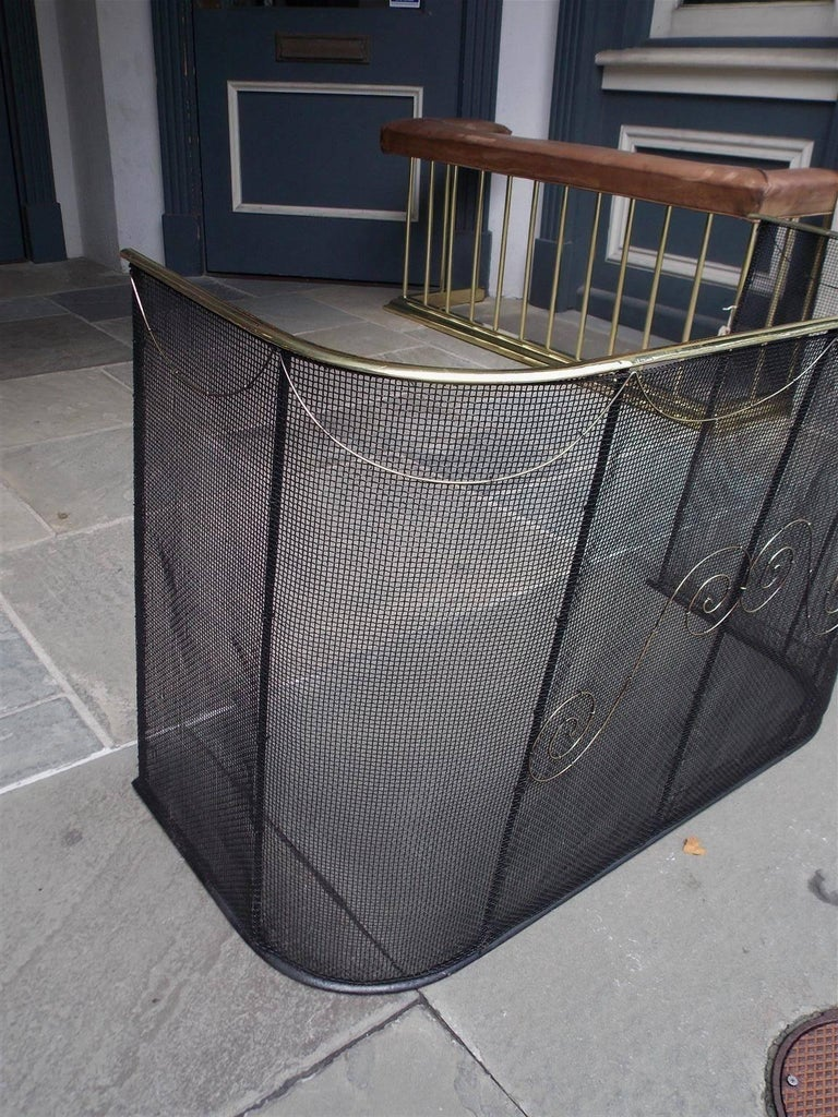 American Colonial American Wrought Iron and Brass Rail Nursery Fire Place Fender, NY, Circa 1810 For Sale