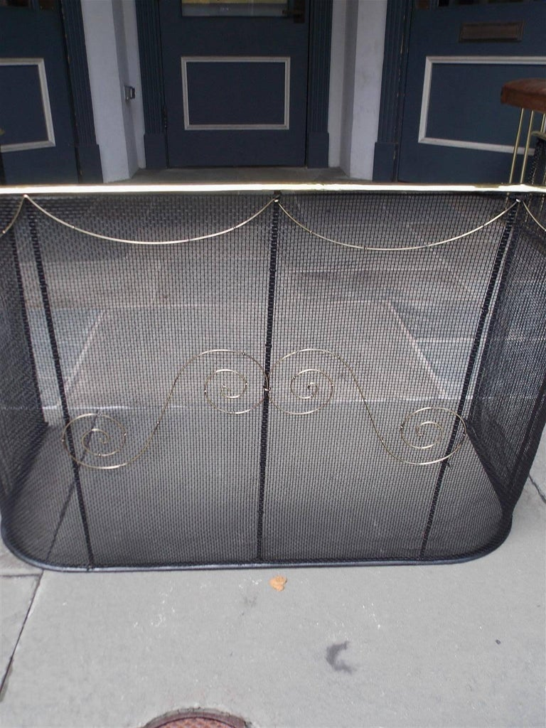 Cast American Wrought Iron and Brass Rail Nursery Fire Place Fender, NY, Circa 1810 For Sale