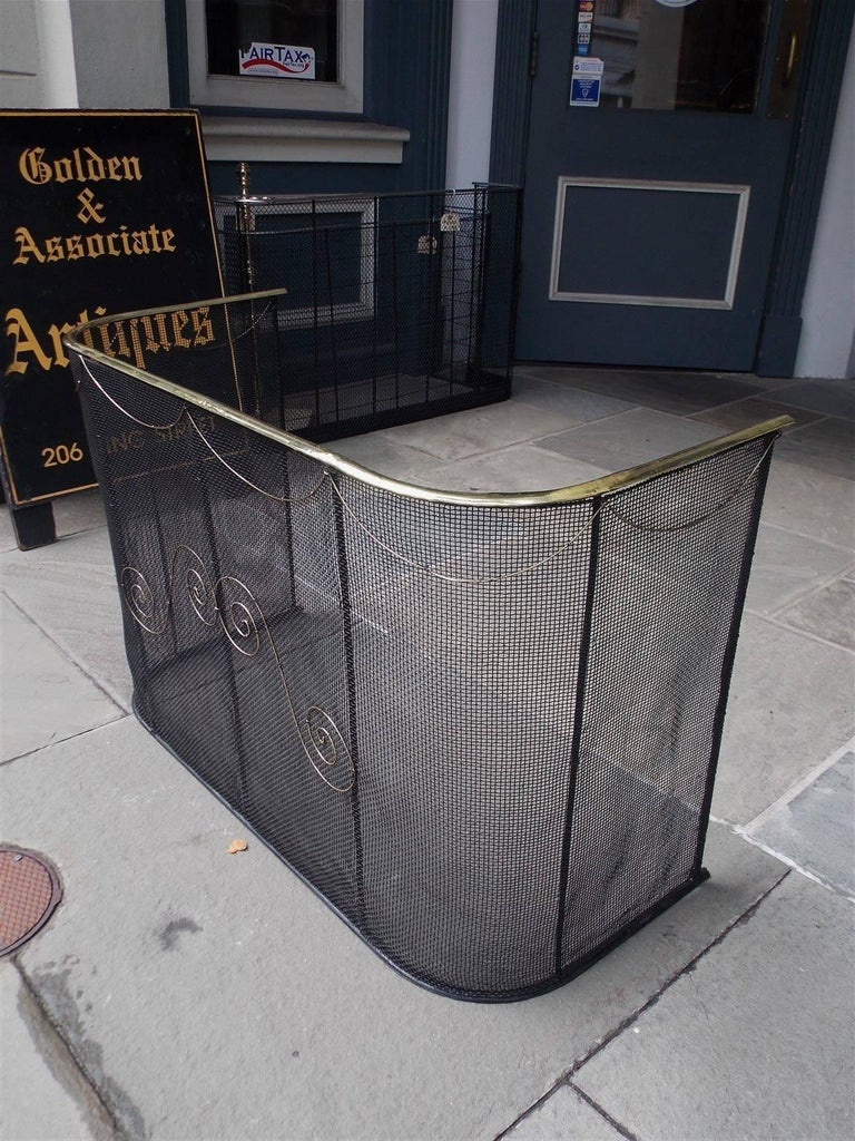 American Wrought Iron and Brass Rail Nursery Fire Place Fender, NY, Circa 1810 In Excellent Condition For Sale In Charleston, SC
