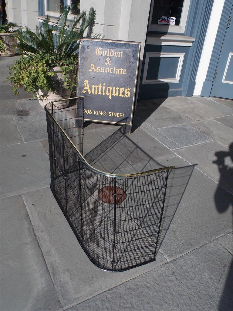 American Colonial American Wrought Iron and Brass Rail Nursery Fire Place Screen, NY, Circa 1810 For Sale
