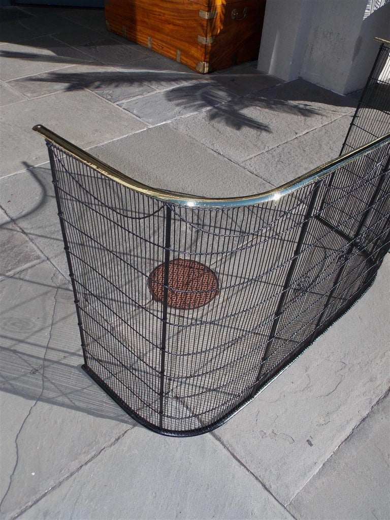 American Wrought Iron and Brass Rail Nursery Fire Place Screen, NY, Circa 1810 In Excellent Condition For Sale In Charleston, SC
