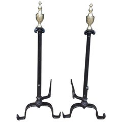 American Wrought Iron & Brass Urn Finial Fluted Andirons with Spit Hooks C. 1780