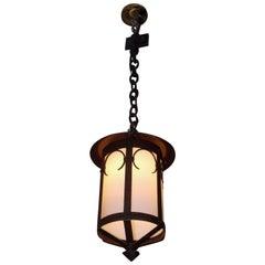 American Wrought Iron and Milk Glass Decorative Hanging Hall Lantern, Circa 1850