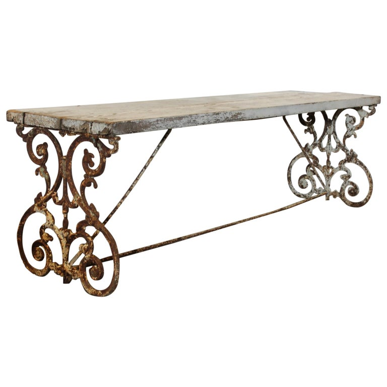 Wrought Iron Wood Dining Table: American Wrought Iron And Wood Base Dining Table Or Bench