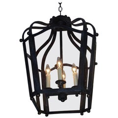 American Wrought Iron Hanging Glass Lantern with Interior Light Cluster C. 1880