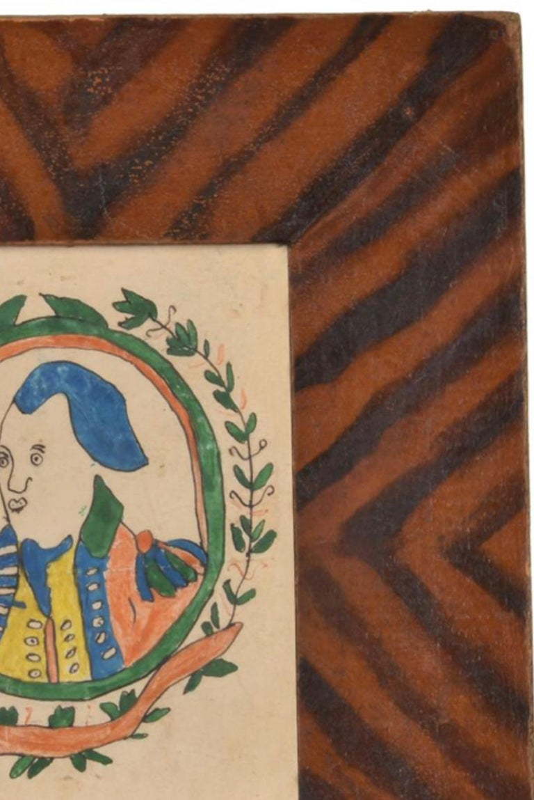 Americana Folk Art Watercolor of George Washington, Early 19th Century In Good Condition For Sale In Boulder, CO
