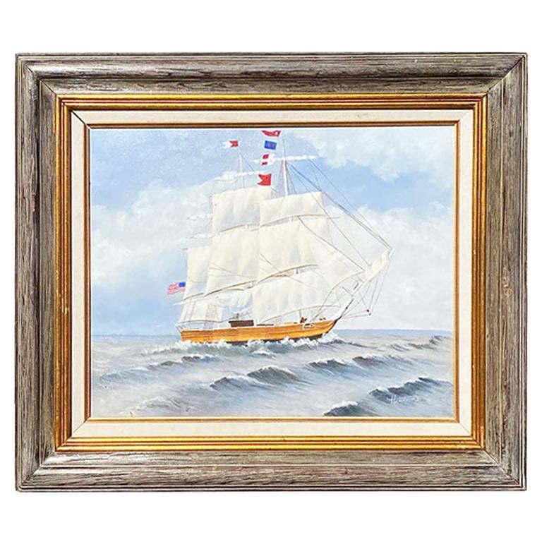 Americana Framed Nautical Maritime Ship Painting Signed
