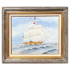 Americana Framed Nautical Maritime Ship Painting Signed