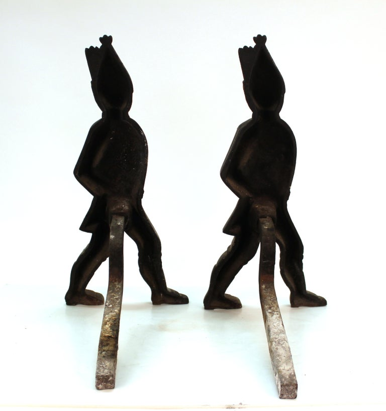 Americana Hessian Soldier Andirons in Painted Cast Iron In Good Condition For Sale In New York, NY