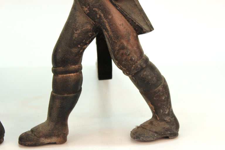 Americana Hessian Soldier Andirons in Painted Cast Iron For Sale 1