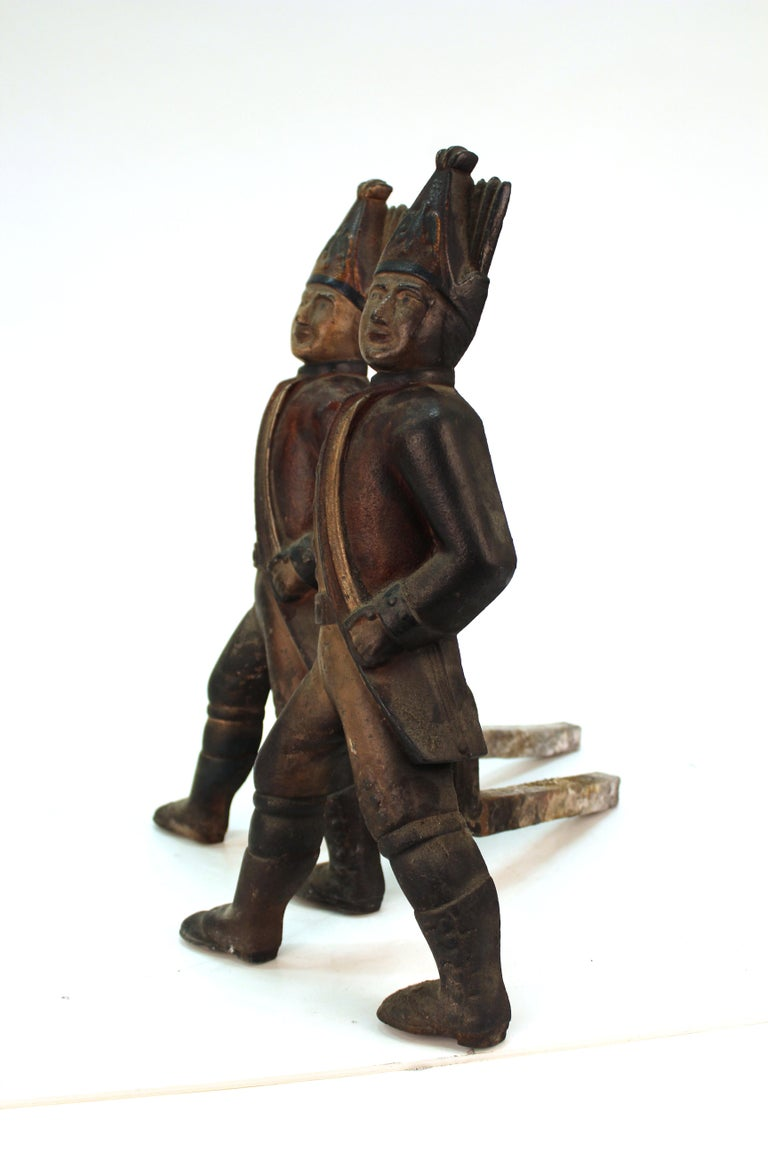 Americana Hessian Soldier Andirons in Painted Cast Iron For Sale 3
